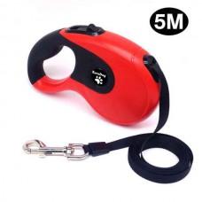 EuroDog Otomatik Şerit Köpek Gezdirme Tasması 5 Mt Siyah-Kırmızı